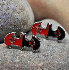 925 Silver Plt Harley Quinn Bat Stud Earrings, Ladies Girls Gift / Gift Bag