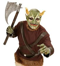 Evil Green Orc Dwarf Halloween Fancy Dress Latex Full Head Mask With Horns
