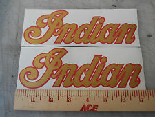 Indian Motorcycle Tank Decal - 2 Stickers in Metallic Gold with Red Outline New
