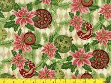 Gold Accented Pink Poinsettia Ornaments Christmas Quilting Fabric by Yard  #3076