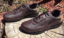 $ PRADA designer Sneakers Men brown Leather SZ 7 (US 8) Shoes !!