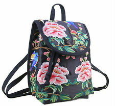 Chinese Yunnan Miao floral tree peony handmade embroidered rucksack backsack