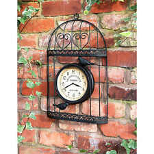 Outdoor Wall Clock Black Bird Cage Wire Heart Design
