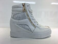 LADIES WOMENS ANKLE HIGH WHITE LACE UP HIDDEN WEDGE DIAMANTE TRAINERS SIZE 4