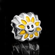 MATERIA Antik Beads Anhänger Sonne gelb Emaille Silber 925 für European Armband