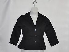 Joan Rivers 3/4 Sleeve Brights Signature Jacket Size S Black