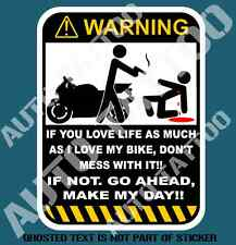 DON'T TOUCH MOTORBIKE WARNING DECAL STICKER FUNNY WARNING DECALS STICKERS