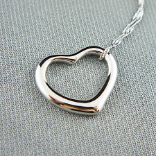 14k white Gold plated love heart pendant necklace