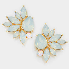 "1.75"" gold opal crystal rhinestone clip on earrings bridal cluster non pierced"