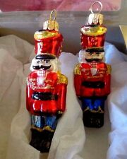 Hand Crafted in Poland Merry Christmas 2 Nutcrackers Glass Ornaments New