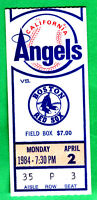 1984 RED SOX @ ANGELS OPENING DAY TICKET STUB-BOGGS, RICE