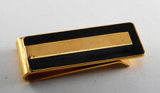 Vintage Collectible Gold Plated Brass  Inlaid Black Enamel Money Clip NOS