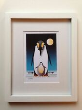 Penguin & Baby 5x7, Original Art, MATTED, WHITE FRAME, Blue Background