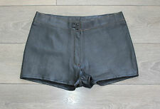 Brown Leather GIPSY BLUE RINSE High Waist Biker Hot Pants Shorts Size W33 L1