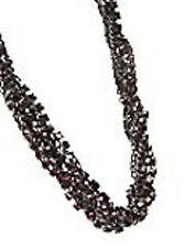 NWT Guess Black Metal-Pink & Purple Rhinestones Twisted Strands Necklace