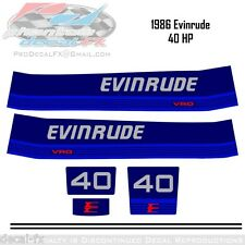 1986 Evinrude 40 HP Outboard Reproduction 5 Piece Vinyl Decals