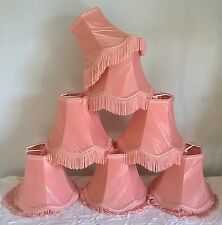 Small coral pink clip-on vintage taffeta fringe lampshade