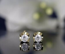 10K Solid Gold 4 mm Dazzling CZ Earrings with Flower Screw Back Golden Choice