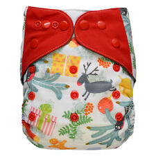 EcoAble Baby Charcoal Bamboo AIO All-In-One Cloth Diaper with Pocket, Christmas
