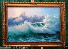 "LARGE SEASCAPE ""PACIFIC OCEAN AFTER STORM"" LISTED ARTIST FRAME NAME PLATE"