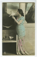 c 1910 Lovely Young Lady BEAUTY w/ DOVE pigeon tinted photo postcard