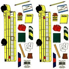 2 sheets School Days Books BUS Crayons Pencils Large Scrapbook Stickers!