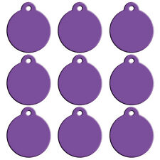 20pcs Purple Dog ID Tags Custom Double Side Personalized Name Charms Round Style