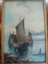 W BUTTLER 1890-1910 FISHING BOATS CLOSE TO SHORE LARGE OIL SIGNED STUNNING