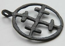 English Medieval Crusaders Period Bronze Cross Pendant 1150 AD VF+