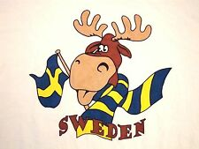 Sweden Winter Moose Flag Scarf Vacation Souvenir Swedish T Shirt M