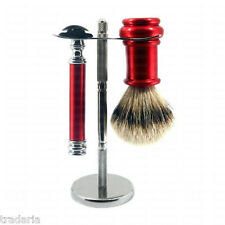 RED METAL WET SHAVING KIT D E SAFETY RAZOR PURE BADGER BRUSH STAND RASIERPINSEL