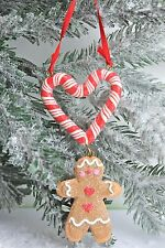 GISELA GRAHAM CHRISTMAS RESIN GINGERBREAD MAN CANDYCANE HEART DECORATION