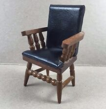 Vintage Doll House Furniture Wooden Chair Office Conference Seat Faux Leather