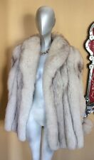 Gorgeous Saga Norwegian Lush Pelts Plush Blue White Fox Fur Coat Large Pristine!