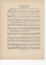 "Vintage WILLIAMS COLLEGE song sheet ""THE MOUNTAINS""  1903 music"