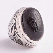 Yemeni Yemen kabdi agate aqeeq aqiq Silver Islamic Men Ring- عقيق كبدي