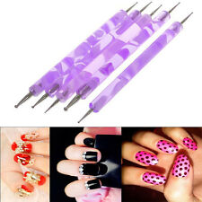 Purple 2 Way Nail Art Tools 5pcs Marbleizing Dotting Pen Set Makeup Gift Fancy