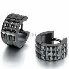 Men's Fashion Stainless Steel Charm Classic Black Wide Hoop Huggie Earrings 2PCS