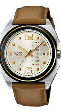 Casio MTF117BL-9A Men's Standard Leather Band Vintage Analog Gold Dial Watch