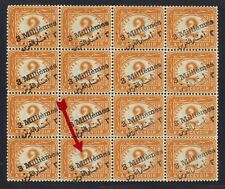 EGYPT 1905 POSTAGE DUE BLOCK OF 16 SG B76 W/SEVERAL OVPT VARIETIES INC THE SHORT