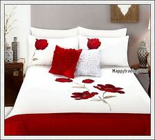 280TC White Red Pintuck Flower Embroidered 3pc QUEEN QUILT DOONA COVER SET