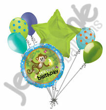 7 pc Hanging Monkey Happy Birthday Balloon Bouquet Party Decoration Animal