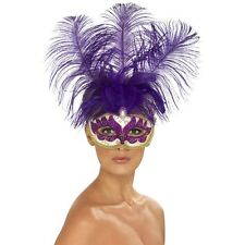Women's Masquerade Purple Can Can Beauty Eye Mask & Feather Fancy Dress Mask Hen