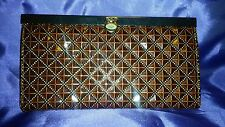 Vintage Style Patent Leather Fancy Golden Brown clutch Wallet