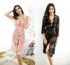 Women Sexy Long Lace Mesh See through Dress Lingerie Nightwear Night Gown Robes