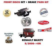 Para Renault maxity 2.5 3.0 Dt Camión 2006 - > Front Discos De Freno Set + Almohadillas De Disco Kit