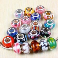 5 x Murano Glass Lampwork Beads for charm bracelet FREE VELVET JEWELLERY BAG