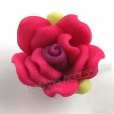 30x 110488+ Hot Pink Flower Charms Flatback Polymer Clay Bead FREE SHIPPING