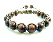 men's shamballa beaded bracelet brown WOODEN beads cuff bangle wristband GIFT