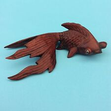 GOLDFISH FIGURINE ASIAN CHINESE Hand-carved Rose Wood Glass Eyes EXQUISITE!